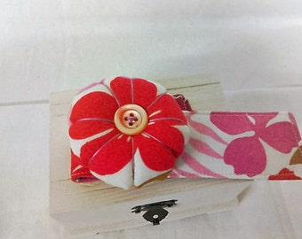 Wrist Pin Cushion  -  Retro Red Pink large Floral Print