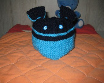 wool baby hat with ears and buttons