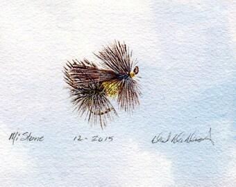 Original Watercolor Painting - Fly Fishing Art - Watercolor - Michigan Stonefly - Made in Michigan - Fly Fishing - Artist - Black Frame