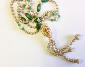Vintage, Czech, Art Deco, Neiger, Egyptian revival, turbaned man, long bead necklace. Flapper bead necklace.