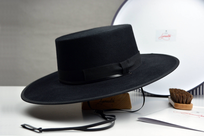 The Gaucho Black Rabbit Fur Felt Flat Crown Bolero Hat