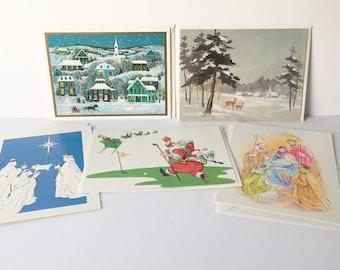 Christmas cards Vintage cards Holiday cards lot of 5 1980s Scrapbooking