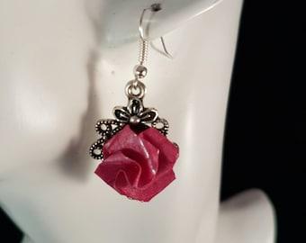 Paper flower earrings, paper earrings, pink flower earrings, paper flower jewellery, paper anniversary gift, vintage floral earrings