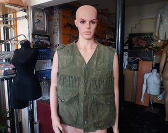 Vintage 1980's Green Canvas Hunting Vest