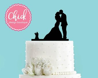 Couple Kissing with Yorkshire Terrier Dog Acrylic Wedding Cake Topper