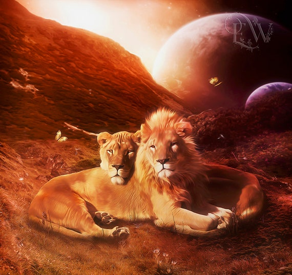 lion and lioness couple fasntasy cat art print