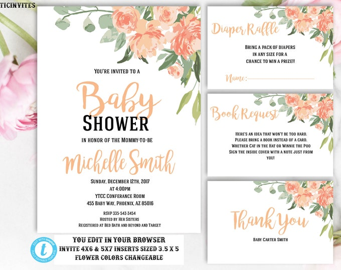 Floral Gender Neutral Editable Printable Instant Download Baby Shower Invitation Package Template, Rustic, Unlimited colors for flowers, DIY