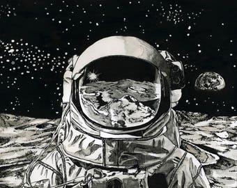 Astronaut on the Moon (print)
