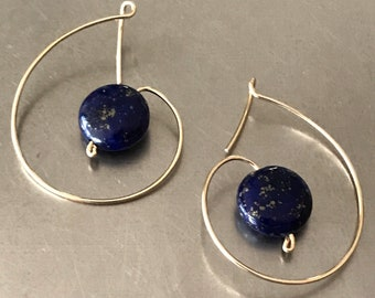 Lapis Coinsand Gold Fill Wire dangle drop earrings.