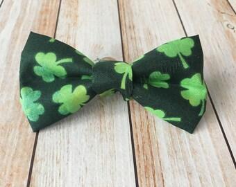 Shamrock St Patricks Day green bow tie hair clip headband