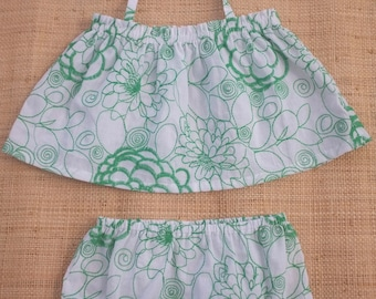 top and green flowers embroidered cotton bloomers set