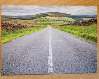 Postcard, English Countryside, Yorkshire Dales, Road, Centre Line, Hills, Photo, Photography, Print,