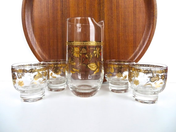 High Quality 5 Piece Culver Glass Cocktail Set, Hollywood Regency Gold Barware, 22kt Gold  Culver Chantilly Pitcher Set, Culver Barware