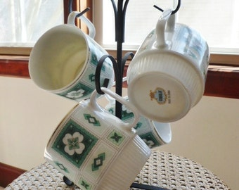 Vintage Set of 4 White,Turquoise Green Coffee Cups or Stack-able Mugs with Black Metal Mug Tree Stand