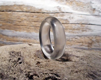 Minimalist Ring Clear Glass Ring Band Mermaid Treasury Jewelry Handmade Rustic Hippie Boho