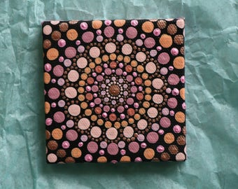 "Hand painted rosy pink, and rose gold mandala on canvas 3"" x 3"" dot pointillism art"