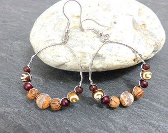 Ethnic hoop earrings, natural materials and stainless steel (BO28) beads