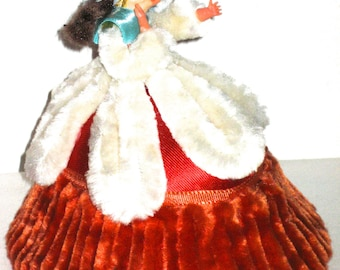 Vintage chenille and paper Easter egg candy box with woman on top