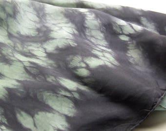 Square Silk Scarf Hand Dyed Shibori Herb Green Black