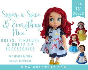 Animator Doll Clothes Sewing Pattern Disney ® Animators Doll Clothes  Princess Dress Up Bundle - Sugar n spice dress and accessory patterns