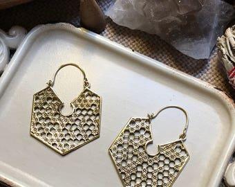 Röötz -  Indian tribal brass earring,unique Honeycomb earrings  ,brass earrings,boho earrings, earrings,ethnic earrings,bohemian earrings
