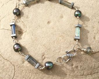 Sterling Silver Labradorite & Pearl Bracelet