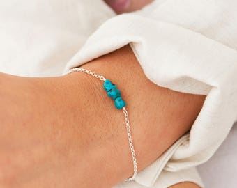 Dainty Turquoise Bracelet - Genuine Turquoise Bracelet, Best Friend Gift, Delicate Layering Bracelet, Mothers Gift