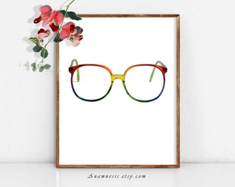 RAINBOW GLASSES - digital download - printable vintage glasses by Anamnesis - image transfer - totes, pillows, prints, clothes