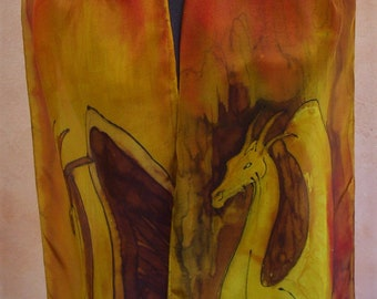 Golden dragons hand-painted silk scarf