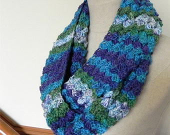 Crochet infinity scarf, shades of blue, purple, and green, multi-color cowl #469, ready to ship