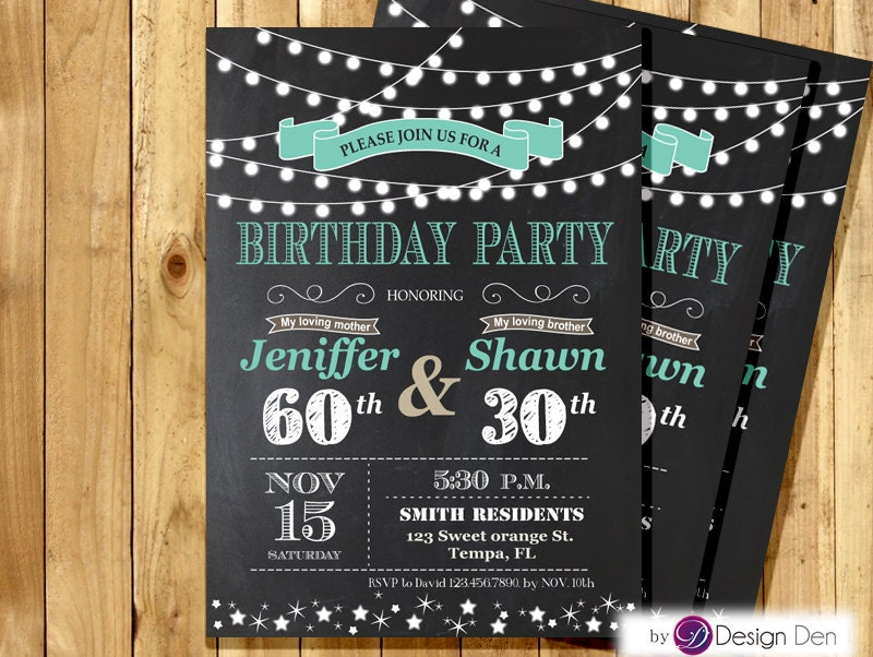 Adult Joint Birthday Invitation. String light