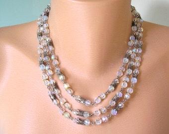 Vintage Bridal Necklace, Bridal Jewelry, Crystal Necklace, Wedding Choker, Vintage Bridal Jewelry, Bridal Accessories, Aurora Borealis
