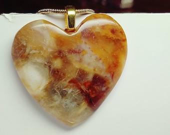 Oregon Jasper Agate, Heart Stone Necklace, Valentine