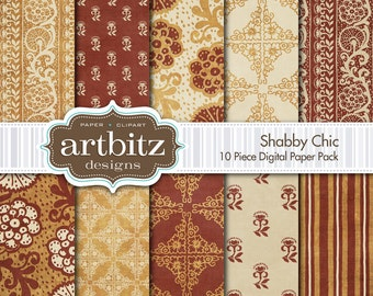 "Shabby Chic, Vol. 1, 10 Piece Distressed Digital Scrapbooking Paper Pack, 12""x12"", 300 dpi .jpg, Instant Download!"