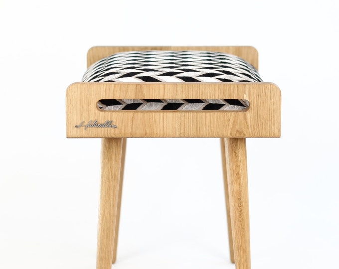 Stool / Seat / Ottoman / bench made of solid oak table, oak legs, upholstered in fabric with geometric pattern