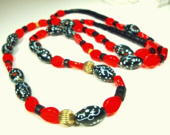 Long  Red Glass & Black Porcelain Hand Painted Bead Necklace, A One of a Kind Design OOAK by Rachelle Starr