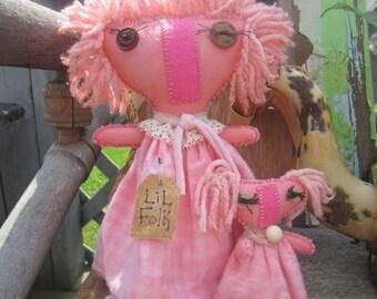 "MOMMA n BABY DOLL~ Baby Girl Nursery Decor~ Designed by thebagglady76~ ""LiL KiN"" Pink~ Shelf Sitter~ Baby Girl Nursery~ Momma and Baby~"