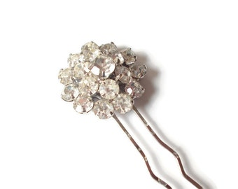 Rhinestone Hair Pin Upcycled Vintage Brooch Bride