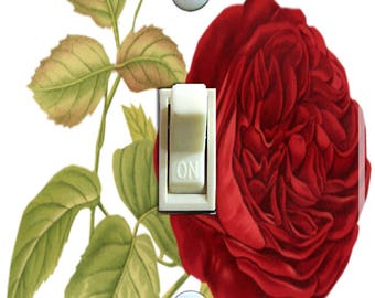 Red Rose Vintage IlIustration Decorative Switch Plate  ***FREE SHIPPING***