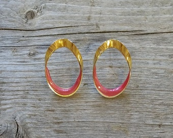 Vintage Pink Enamel Earrings-Retro Earrings-Vintage Earrings-Pink Hoop Earrings-Pink Earrings-Free Shipping-Gift Box Included