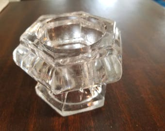 """Antique Victorian Glass Cut Sharp Master Footed Open Salt Cellar 2 1/2"""" Pressed Glass EAPG As-is"""