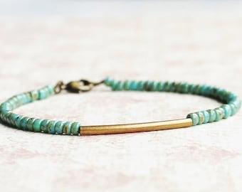 Bronze And Turquoise Bracelet, Seed Bead Bracelet, Minimalist Bracelet, Dainty Bracelet, Stacking Bracelet, Simple Bracelet, Beaded Bracelet
