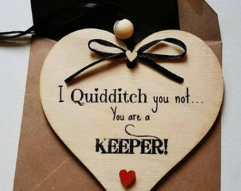 harry potter inspired  valentines card, funny valentine for him or for her, girlfriend birthday card, boyfriend valentine, wooden card,