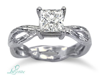 Twig Princess Cut Engagement Ring | Twisted Shank Twig Moissanite Ring