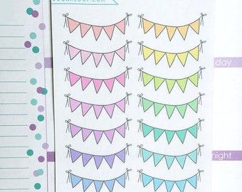 Bunting Planner Stickers, 14 Cute Bunting Stickers, Flags, Banner, Reminders, Events, Task, Decoration, Embellishments, Pastel, BUN1