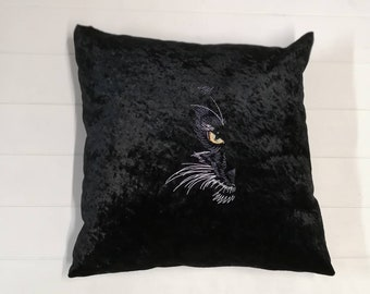 Embroidered Cat Cushion, Crushed Velvet Cat Face Cushion, Decorative Cushions, Embroidered Pillow