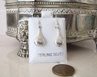 Etched teardrop sterling silver Earrings, water drop dangle earrings, SALE