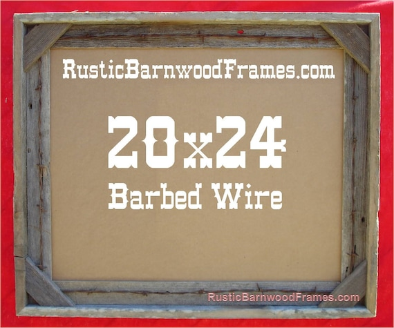 20x24 Barbed Wire rustic barn wood aged weathered reclaimed ...