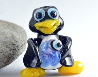 PENGUIN,  Lampwork Glass Penguin and Blue Fish Bead,   Glass Sculpture Collectible, Focal Bead, Pendant, Izzybeads SRA