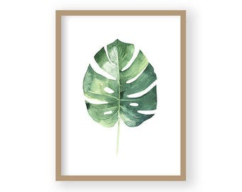 Monstera Print, Tropical Art, Botanical Print, Tropical Wall Decor, Botanical Gift, Scandi Decor, Minimalist Decor, Green Wall Art
